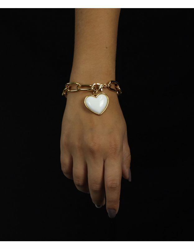 Pulseira coração branco folheada a ouro 18k