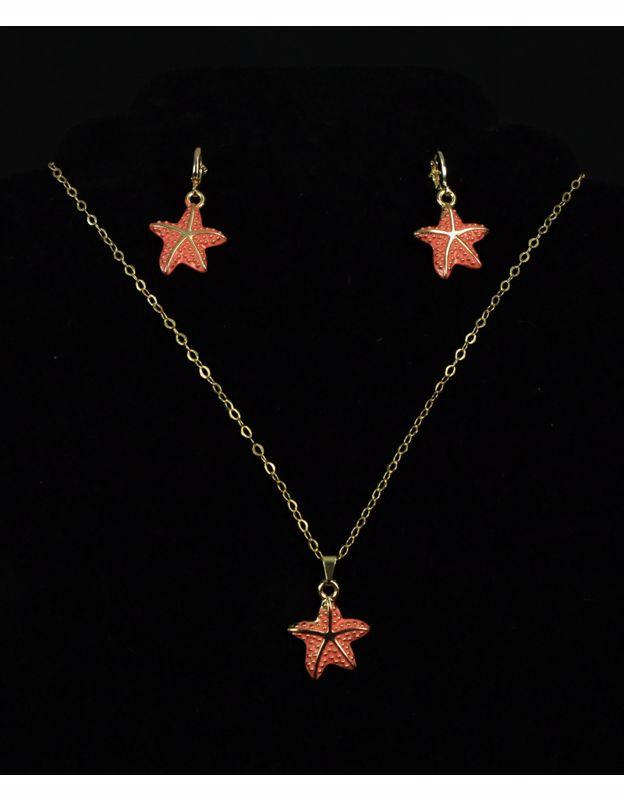 Conjunto estrelas do mar, folheado a ouro 18k