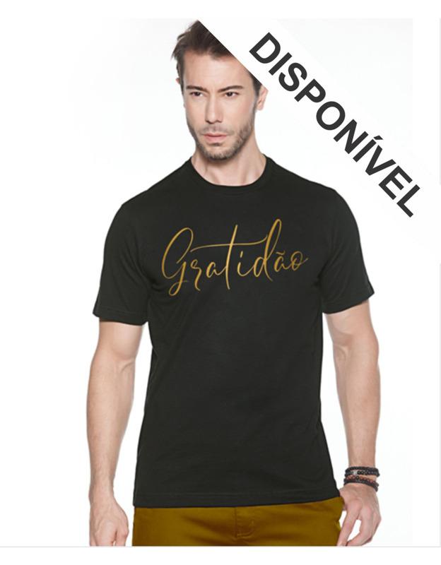 Camiseta Preta Gratidão Dourado - PLUS